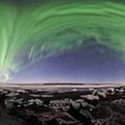 Iceland Aurora Beach Panorama Art Print