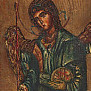 Icon Of Archangel Michael - Painting On The Wood Art Print