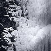 Icy Cliff - Black And White Art Print