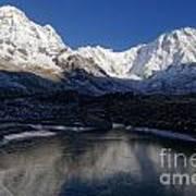 Icy Lake And Annapurna Art Print