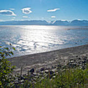 Icy-looking Kachemak Bay In Sunlight From Homer Spit-ak  Art Print