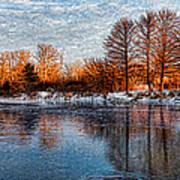 Icy Reflections At Sunrise - Lake Ontario Impressions Art Print