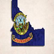 Idaho Map Art With Flag Design Art Print