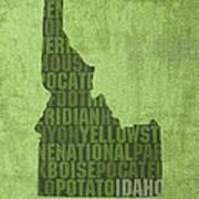 Idaho State Word Art Map On Canvas Art Print