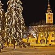Idylic Winter Cityscape Evening In Snow Art Print