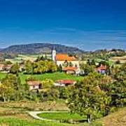 Idyllic Green Nature Of Croatian Village Of Glogovnica Art Print