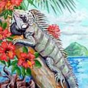 Iguana Hibiscis Art Print