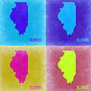 Illinois Pop Art Map 2 Art Print