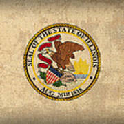 Illinois State Flag Art On Worn Canvas Art Print