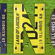 Illinois State Name License Plate Art Art Print