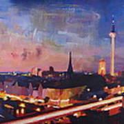 Illuminated Berlin Skyline At Dusk  Art Print