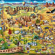 Illustrated Map Of Arizona Art Print