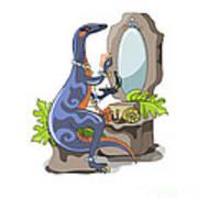 Illustration Of An Iguanodon Putting Art Print
