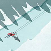 Illustration Of Man Skiing During Art Print