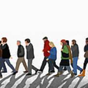 Illustration Of People Walking On Art Print