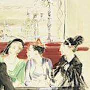Illustration Of Three Women Wearing Designer Hats Art Print