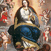 Immaculate Virgin Victorious Over The Serpent Of Heresy Art Print