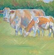 Impressionist Cow Calf Painting Art Print