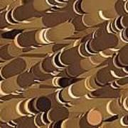 Impressionist Golden Rising Sand Castle Show Pattern Art 36x12 Horizontal Landscape Energy Graphics  Art Print