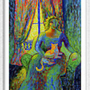 Impressionist Woman And Cat Art Print by Eve Riser Roberts