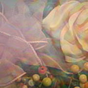 Impressionistic Pink Rose With Ribbon Art Print
