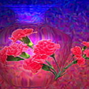 Impressions Of Pink Carnations Art Print by Joyce Dickens