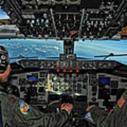 In The Cockpit Of A Kc-135 Stratotanker  Art Print