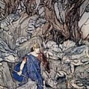 In The Forked Glen Into Which He Slipped At Night-fall He Was Surrounded By Giant Toads Art Print by Arthur Rackham