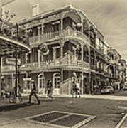 In The French Quarter Sepia Art Print