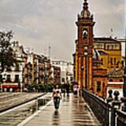 In The Rain - Puente De Triana Art Print