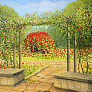 In The Rose Garden Art Print by Kiril Stanchev