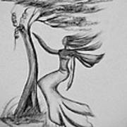 In The Wind She Dances Art Print