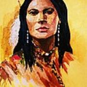Maiden In White Feather And Beads Art Print