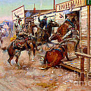 In Without Knocking By Charles M. Russell Art Print