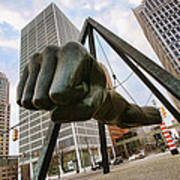In Your Face -  Joe Louis Fist Statue - Detroit Michigan Art Print by Gordon Dean II