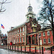 Independence Hall From Chestnut Street Art Print