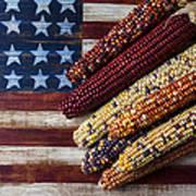 Indian Corn On American Flag Art Print by Garry Gay