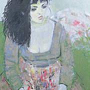 Indian Earring Dark-haired Girl In Green Oil On Canvas Art Print