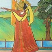 Indian Lady Playing Ancient Musical Instrument Art Print