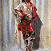Indian Maid At Stockade By Charles Marion Russell Art Print