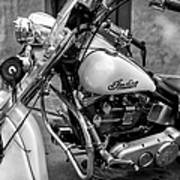 Indian Motorcycle In French Quarter-bw Art Print