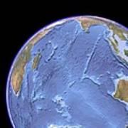 Indian Ocean, Sea Floor Topography Art Print
