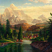 Indian Village Trapper Western Mountain Landscape Oil Painting - Native Americans -square Format Art Print