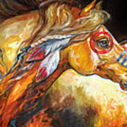 Indian War Horse Golden Sun Art Print