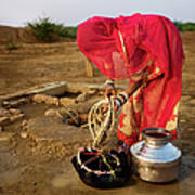 Indian Woman Getting Water From The Art Print