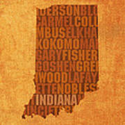 Indiana State Word Art On Canvas Art Print by Design Turnpike