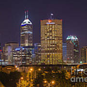Indianapolis Night Skyline Echo Art Print