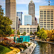 Indianapolis Skyline Picture Of Canal Walk In Autumn Art Print
