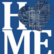 Indianapolis Street Map Home Heart - Indianapolis Indiana Road M Art Print
