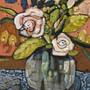 Indigo And Orange Floral Art Print